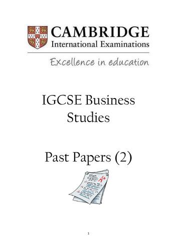 IGCSE Cambridge Business Studies Paper 2 Past Paper Booklet