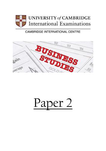 IGCSE Cambridge Business Studies Paper 2 Exam Technique Booklet