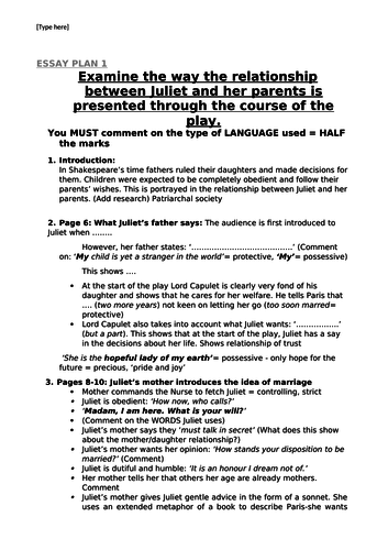 Thesis Statement For An Essay Essay Plan Examining The Relationship Between Juliet And Her Parents By  Michelegroome  Teaching Resources  Tes Essay On Paper also Example Of A Thesis Essay Essay Plan Examining The Relationship Between Juliet And Her Parents Literary Essay Thesis Examples