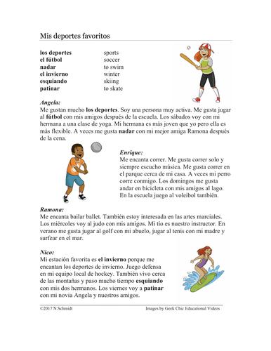 Mis deportes favoritos Lectura - My Favorite Sports Spanish Reading + Worksheet