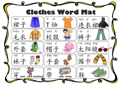 Clothes_Word Mat in Mandarin Chinese