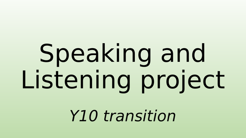 Room 101 Speaking and Listening project