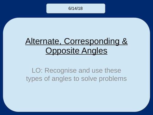 Alternate, Corresponding & Vertically Opposite Angles KS3