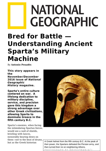 Magazine article: Bred for Battle - Understanding Ancient Sparta's Military Machine