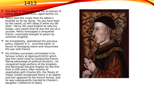 Basic powerpoint on the reign of Henry 5th.