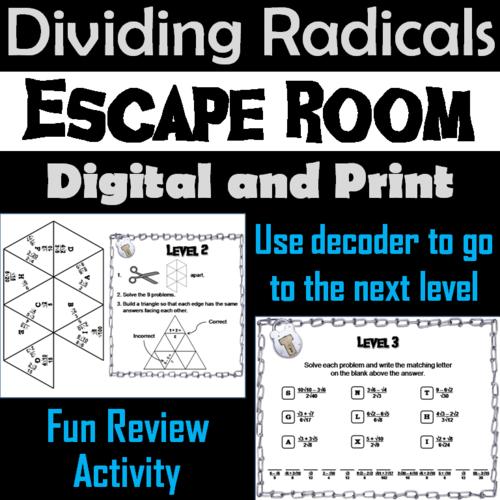 Dividing Radicals Game: Escape Room Math Activity ...