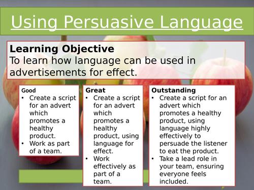 Using persuasive language - TV Advert