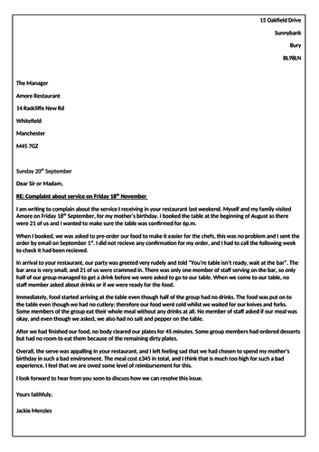 Formal letter lesson for L1 or L2 Functional Skills English