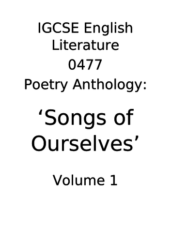 Cambridge IGCSE English Literature: 'Songs of Ourselves: Volume 1' poetry anthology