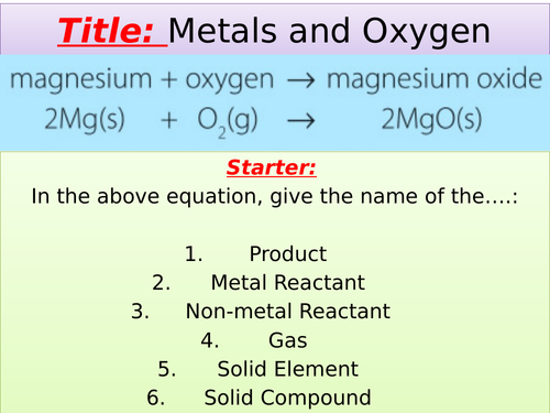 Metals and Oxygen KS3 Chemistry