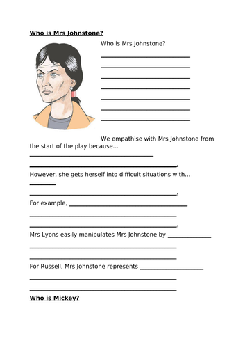 Character Worksheets for Revision: Blood Brothers
