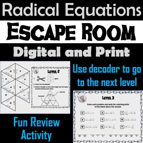 Solving Radical Equations Game: Escape Room Math Activity
