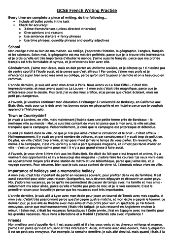 French GCSE Writing: Example Answers