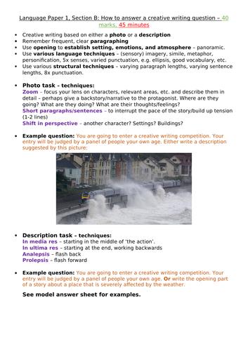 AQA GCSE (9-1) English Language: Paper 1, Section B (Creative Writing) - How to answer, model answer