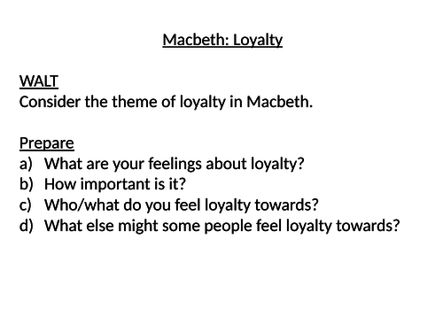 Loyalty in Macbeth