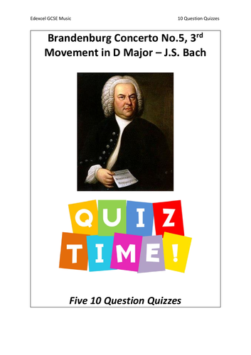 10 Question Quizzes - Brandenburg Concerto No.5 by J.S. Bach - Edexcel GCSE Music