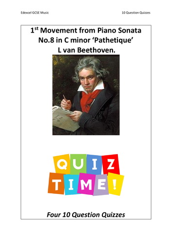 10 Question Quizzes - Piano Sonata No.8 'Pathetique' by Beethoven - Edexcel GCSE Music