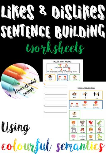 Likes and Dislikes - writing using colourful semantics
