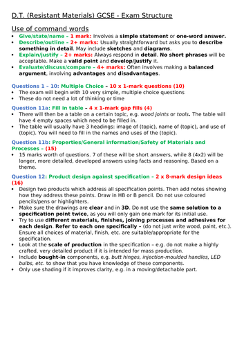 Edexcel GCSE (A*-U) DT: Resistant Materials Exam Structure