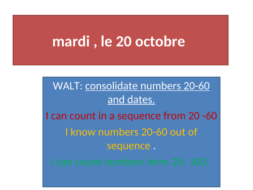 French numbers- revision