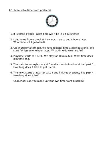 Time Word Problems year 3/4