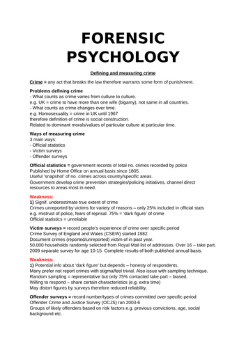 Forensic Psychology - AQA A-Level Psychology