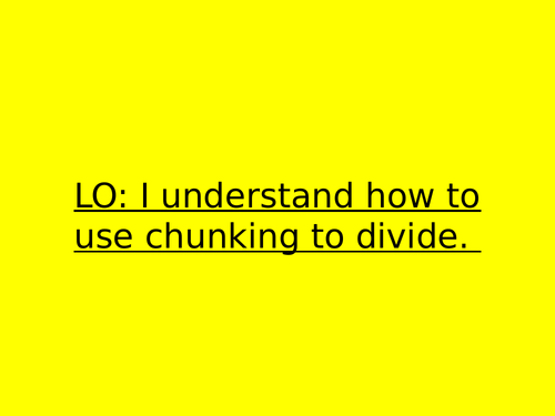 Division - Chunking and word problems
