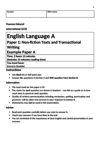 Edexcel IGCSE English Language Sample Exam Paper