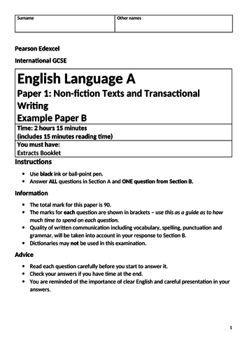Edexcel IGCSE Language Paper 1 example with Between a Rock and a Hard Place