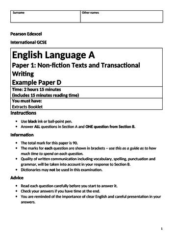 Edexcel IGCSE Language Paper 1 with Explorer's Daughter