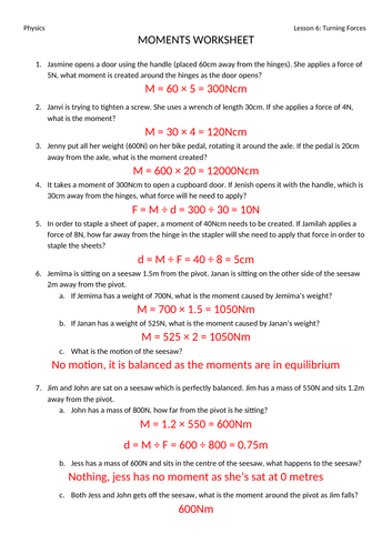 Turning Forces (Moments) Worksheet