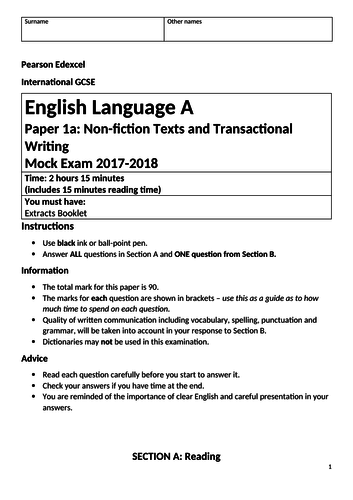 Edexcel IGCSE Language Paper 1 with Young and Dyslexic