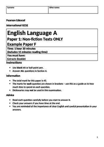 Edexcel IGCSE Language Paper 1 with H is for Hawk