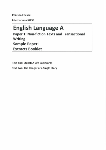Edexcel IGCSE Language Paper 1 with Danger of a Single Story