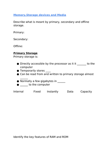 IGCSE Computer science memory, storage and media worksheet