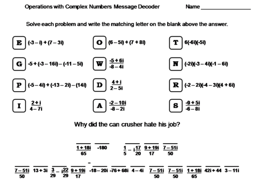 Operations With Complex Numbers Worksheet Math Message Decoder By