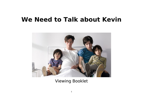 'We Need to Talk about Kevin' viewing booklet for A-Level Film Studies.