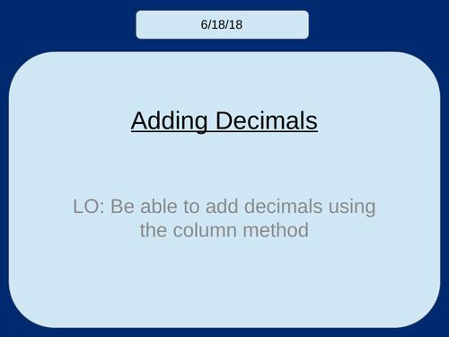 Adding Decimals (KS2/KS3)