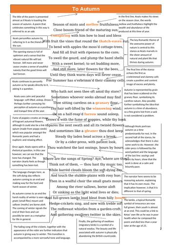 To Autumn by John Keats Complete Analysis