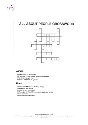 All About People Crossword
