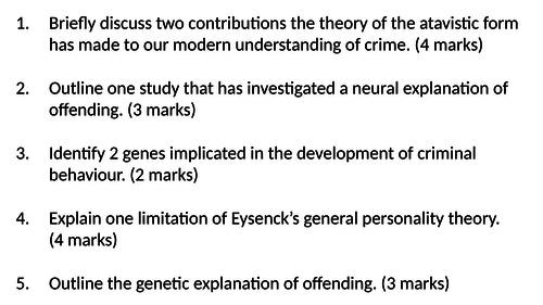 Cognitive Explanations of Offending AQA A Level Forensic Psychology