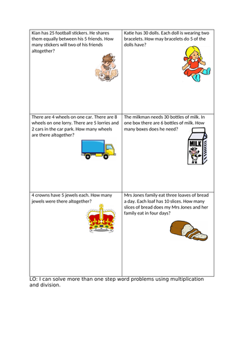 one and two step word problem multiplication and division Y2