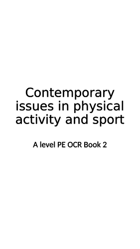 A level PE Contemporary Issues Booklet OCR 2016 Spec