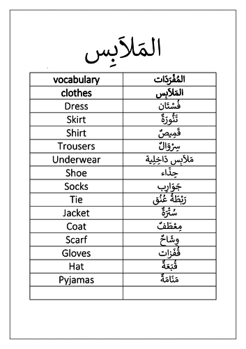 clothes vocabulary and activity
