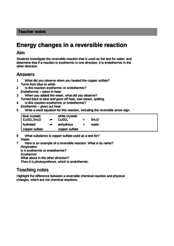2019 GCSE AQA Chemistry unit 6: Rates of Reaction: Reversible reactions