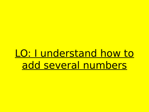 Adding several numbers