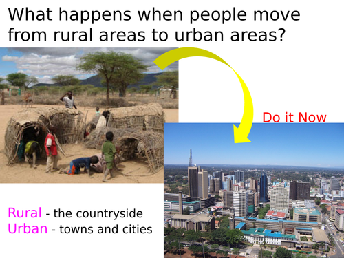 KS3 unit - SETTLEMENT - L6 rural urban migration in kenya - fully resourced