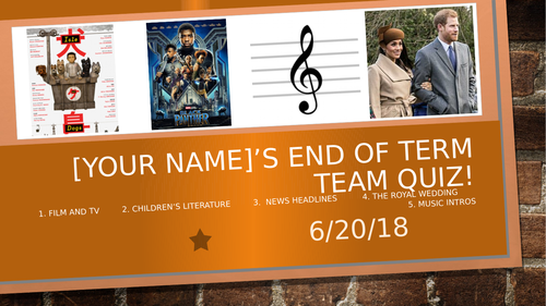End of Term Year  Quiz June 2018
