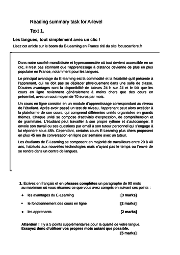 2 Model Summary Tasks for the New A Level French Exam