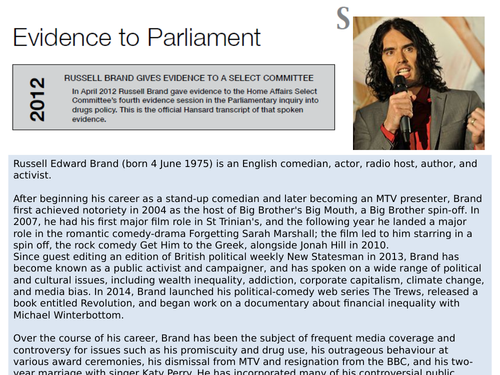 OCR EMC Anthology Russell Brand Evidence to a Parliamentary Select Committee 2012